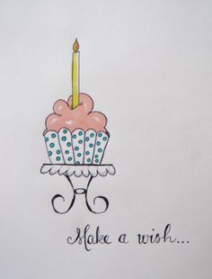 doodle a day ~ day 84, Make a wish, Cupcake, Five Times Blessed, Nancy Mills