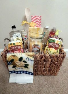 Learn how to make cheap and easy gift baskets for family and friends with dollar… - DIY Home Decor Ideen,Frisuren, Theme Baskets, Themed Gift Baskets, Diy Gift Baskets, Christmas Gift Baskets, Gift Basket Ideas, Family Gift Baskets, Christmas Ideas, Christmas Christmas, Fundraiser Baskets