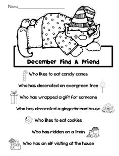 December Find A Friend Community Building Activity Community Building Activities, Student Crafts, Indoor Recess, Fact Families, Great Schools, Find Friends, First Grade, Grade 1, School Daze