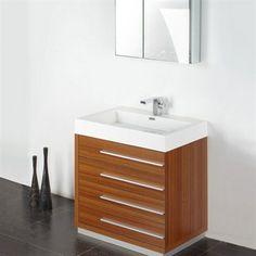 "Fresca Livello 30"" Teak Modern Bathroom Vanity w/ Medicine Cabinet | Free Shipping"