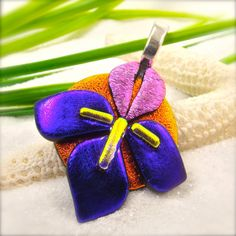 Iris flower jewelry dichroic glass iris iris by HanaSakuraDesigns