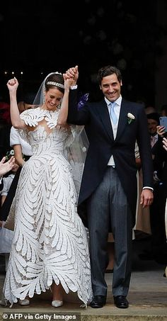 Princess Beatrice and property tycoon fiancé attend historic wedding of French and Austrian royalty Princess Beatrice, Princess Eugenie, Royal Brides, Royal Weddings, Napoleon, Bridal Gowns, Wedding Gowns, Famous Wedding Dresses, Floral Frocks