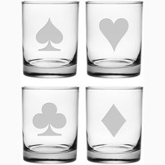 Poker Suits Double Old Fashioned Glasses - Set of 4 This set of Poker Suits Double Old Fashioned Glasses will add fun to those card playing nights and they also make a great gift. Each heavy base glas