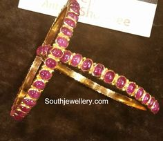 22 Carat gold antique bangles studded with rubies. The Bangles, Ruby Bangles, Bangle Bracelets, Indian Jewellery Design, Indian Jewelry, Jewelry Design, Latest Jewellery, Antique Jewellery, Ruby Jewelry