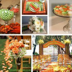 Orange green wedding colors