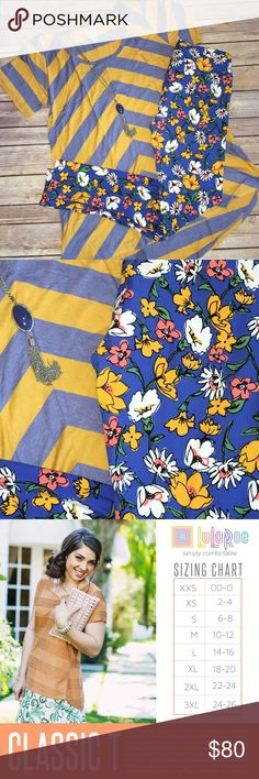 LulaRoe Outfit Classic T Medium & OS Leggings HELLO SPRING!  GORGEOUS blue and yellow Classic T with angled stripes on the front and horizontal on the back. Paired with these BEAUTIFUL floral OS leggings!!!! This outfit SCREAMS Spring                     ✨ Jewelry not included✨ Price is FIRM due to the PERFECTION of this pattern mixing! LuLaRoe Other