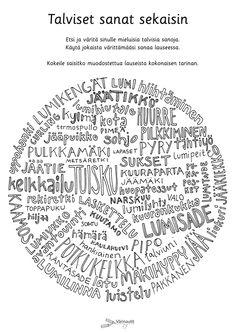Talvi - Värinautit Finnish Language, Classroom Activities, Kindergarten, Writing, Reading, School, Winter Things, Diy, Crafts