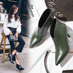 1df96b2ea16a9 2017 autumn winter new women heel leather Martin boots Europe and America  Kitten Heel Ankle Boots