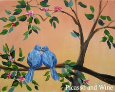 """Love Birds"" How precious is this?  Let your inner artist shine at Picasso and Wine in Windsor. Sign up with your friends for a fun night, sip on some wine, and leave with a beautiful painting like this one! www.picassoandwine.com. Painting Classes 
