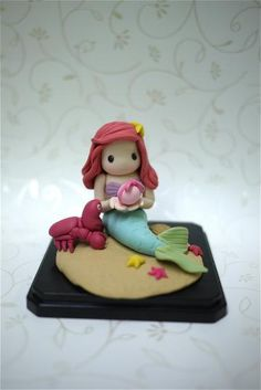 Handmade Little Mermaid Figurine (for birthday cake topper or a gift)