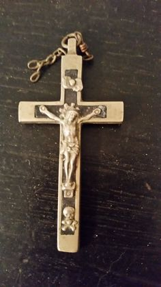 Crucifix Vintage Wood Inlay Golgotha Skull by ShellysSelectSalvage