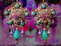 Pink Rose Filigree Chandelier Earrings Mint Green by kerala, $43.00