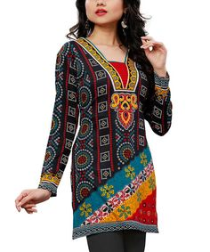 Navy & Red Abstract Tunic - Plus Too