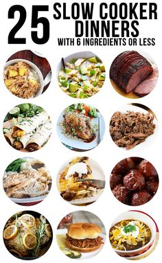25 Slow Cooker Dinners with 6 Ingredients or Less - We have 25 delicious slow cooker dinner ideas on the blog that are all simple to make and only require 6 ingredients (or less!). These are perfect ideas to add to your weekly meal plan because who doesn't love a hot  dinner, that requires hardly any thinking or planning?! You have to try some of these out!