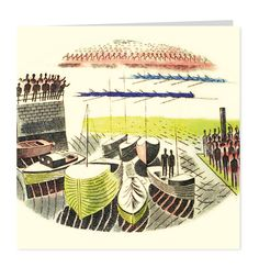 Boat Race Rowers by Eric Ravilious
