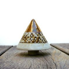 Porcelain Tree Gold  Beige And Brown  by BlueMagpieDesign on Etsy, €22.75