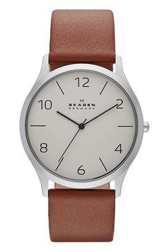 Skagen 'Jorn' Leather Strap Watch, 41mm