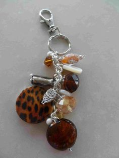 #Purse #jewelry FOB dangle - brown #owl