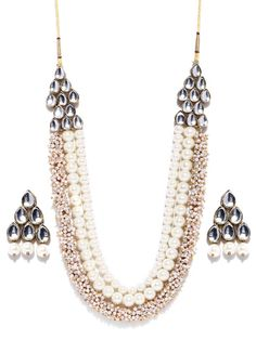 Buy Zaveri Pearls Off White Gold Plated Jewellery Set - Jewellery Set for Women | Myntra
