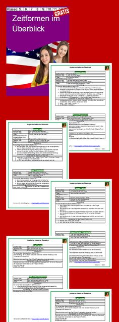 Die Merkblätter zu den englischen Zeiten bieten Ihren Schülern einen schnellen Überblick über die Verwendung der wichtigsten englischen Zeitformen. Das Unterrichtsmaterial dient vor allem einer Wiederholung / Festigung.  #Unterrichtsmaterial #englisch #kostenlos englisch lernen kostenlos englische grammatik esl teach english
