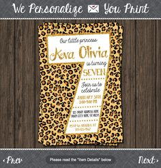 Cheetah 7th Birthday Invitation - Cheetah Seventh Birthday Invitations by PuggyPrints on Etsy
