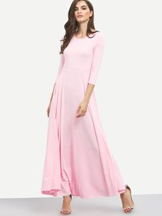 Shop Elbow Sleeve Maxi Pink Dress online. SheIn offers Elbow Sleeve Maxi Pink Dress & more to fit your fashionable needs.