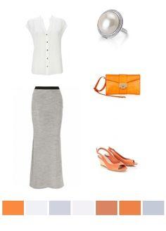 ivory, grey, orange