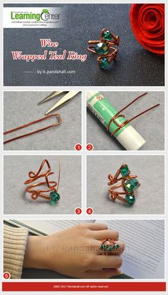 Easy Guide To Make Wire Wrapped Rings With Beads Wire Jewelry Rings, Wire Jewelry Making, Wire Jewelry Designs, Diy Jewelry Tutorials, Handmade Wire Jewelry, Jewelry Crafts, Bead Jewelry, Jewelry Holder, Jewelry Patterns