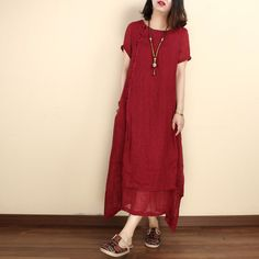Women summer linen short sleeve gown