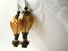 Hot Air Balloon Earrings. Amber Steampunk by PiggleAndPop on Etsy, $22.00