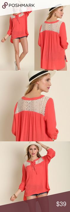 "BOHO Hi Lo Lace Tunic Top Flowy Comfortable Long COMING TODAY! PREORDER NOW! BOHO Tie Up LACE Ho Lo Tunic Top Blouse Long Sleeve  Coral Oversized Flowy Comfortable, Light Weight, Cotton Blend.  B0014  I'm 5'4 130lb 34C I'm: 35, 27, 38"". SM is perfect for me -TTS  *HEIGHT OF MODEL: 5'7 / SIZE: SMALL  ❌PRICE FIRM. HIGH QUALITY BOUTIQUE ITEM    💗IMPORTANT SIZING INFO: 4TH pic look @ closet for deals🚫trades/returns 💥if you ask for more than 15% discount, you will be blocked📭fast ship…"