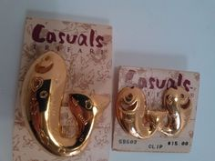 Vintage Signed Trifari Casuals Gold Tone Fish Pin & Earring Set MADE IN USA! NWT #Trifari