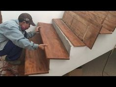 Amazing Techniques Smart Woodworking Skills - Building And Installation . Concrete Staircase, Hardwood Stairs, Concrete Steps, Wooden Staircases, Curved Staircase, Concrete Projects, Woodworking Skills, Woodworking Techniques, Custom Woodworking