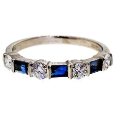 Tiffany & Co. Sapphire Diamond Platinum Wedding Band Ring | From a unique collection of vintage band rings at https://www.1stdibs.com/jewelry/rings/band-rings/