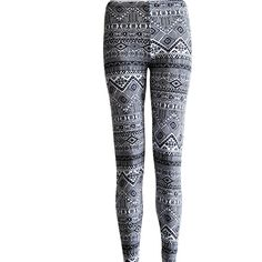 Tribal Womens Aztec Mayan Print Pattern Black and White Leggings Tights found on Polyvore featuring polyvore, fashion, clothing, pants, leggings, grey, women's clothing, patterned leggings, black and white tribal leggings and grey leggings