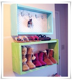 Upcycled Dresser drawers to shoe shelf and key holder...great for getting shoes etc. off of the floor.
