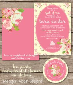 Tea Party Chic Roses Baby or Bridal Shower Invitation by meaganadair on Etsy