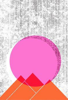 Sun Mountains Print Geometric Nature art print by strawberryluna