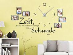 Zeit, die man mit der Familie verbringt, ist jede Sekunde wert.  Wandtattoo Uhr mit Fotorahmen und Spruch. #Wanduhr #Bilderrahmen