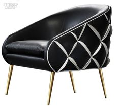 Tina Nicole's Dali chair in leather with brass legs by Nathan Anthony Furniture.