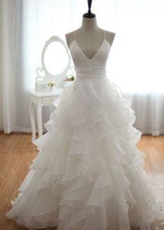 Charming Prom Dress,Spaghetti Straps Prom Dress,Deep V-Neck Prom dress,Evening…
