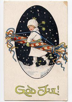 Christmas Bags, Vintage Christmas Cards, Christmas Greeting Cards, Christmas Greetings, Vintage Cards, Vintage Postcards, Christmas Crackers, Swedish Christmas, Scandinavian Christmas