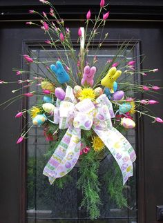 Easter Wreath Spring Wreath ~~ Easter Wall Basket
