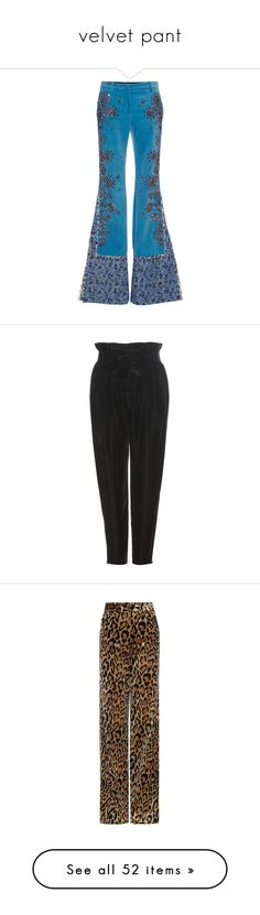 """""""velvet pant"""" by namelif ❤ liked on Polyvore featuring Fall, velvet, pant, pants, blue, alberta ferretti pants, flared trousers, flared pants, velvet pants and flare pants"""