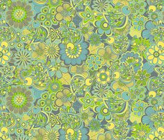 wellcome birds to my garden.green fabric by juliagrifol on Spoonflower - custom fabric