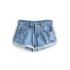 Vintage Blue High Waist Distressed Cuffed Denim Shorts ($16) ❤ liked on Polyvore featuring shorts, beautifulhalo, highwaisted shorts, destroyed shorts, highwaist shorts, ripped shorts and vintage distressed shorts