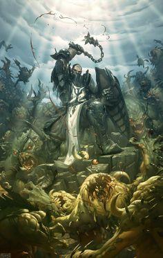 m Paladin Plate Armor Shield Flail male underwater battle story lg Fantasy Battle, High Fantasy, Fantasy Warrior, Fantasy Rpg, Medieval Fantasy, Dark Fantasy Art, Fantasy Artwork, Fantasy Life, Templer
