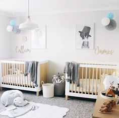 The Ultimate Guide To Designing A Twin Nursery Baby Nursery Rugs, Newborn Nursery, Nursery Twins, Baby Bedroom, Nursery Room, Baby Twins, Small Twin Nursery, Twin Baby Rooms, Nursery Modern