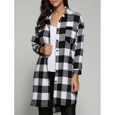 Tartan Pattern Long Shirt, BLACK, L in Blouses | DressLily.com