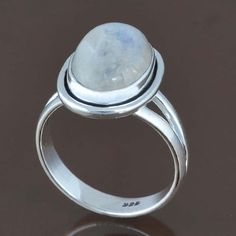 925 STERLING SILVER DESIGNER LADIS MOONSTONE RING 4.73g DJR8185 SZ-6 #Handmade #Ring